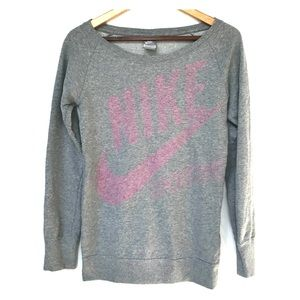 Nike Sweatshirt in Grey with Faded Logo, Size S